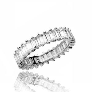 Sterling Silver 925 Emerald Cut CZ  Eternity Ring